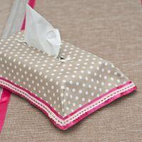 Papírzsepi takaró - drapp pöttyös pink szalaggal